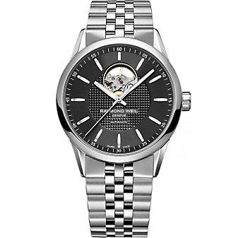 Raymond Weil Freelancer Men's Bracelet Watch, Black Dial & Open Balance Wheel