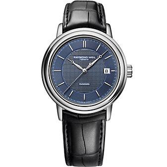 Raymond Weil Maestro Men's Strap Watch, Blue Dial