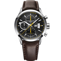 Raymond_Weil_Freelancer_Automatic_Chronograph_Men's_Strap_Watch,_Yellow_Accents