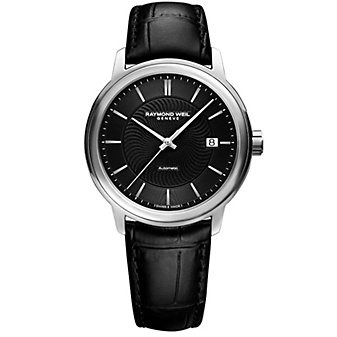 raymond weil maestro 39.5mm men's watch, black dial steel on leather strap