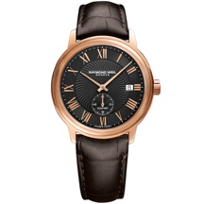 raymond_weil_maestro_39.5mm_men's_watch,_rose_gold_pvd_on_leather_strap