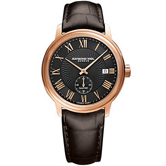 raymond weil maestro 39.5mm men's watch, rose gold pvd on leather strap