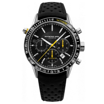 Raymond_Weil_Freelancer_Automatic_Chronograph_Steel_on_Black_Leather_with_Yellow_Accent_Men's_Watch