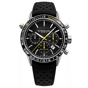 Raymond Weil Freelancer Automatic Chronograph Steel on Black Leather with Yellow Accent Men's Watch