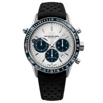 Raymond_Weil_Freelancer_Automatic_Chronograph_Steel_on_Black_with_Blue_Subdials_Leather_Men's_Watch