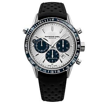 Raymond Weil Freelancer Automatic Chronograph Steel on Black with Blue Subdials Leather Men's Watch