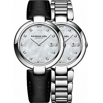 Raymond Weil Shine Diamond & Mother of Pearl Dial Women's Watch with Interchangeable Bracelets