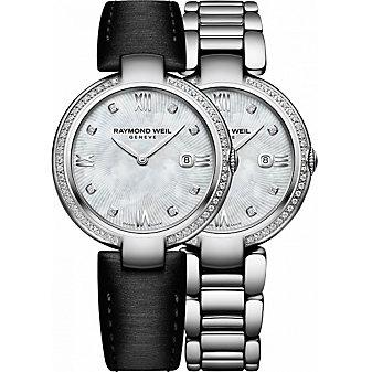 Raymond Weil Shine Steel & Diamond Mother of Pearl Dial Women's Watch with Interchangeable Bracelets