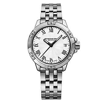 raymond weil tango 30mm women's watch, steel on steel, white dial
