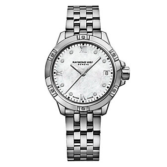 raymond weil tango 30mm women's watch, diamond steel on steel