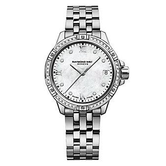 raymond weil diamond tango 30mm women's watch, steel on steel