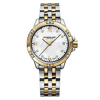 raymond weil tango diamond 30mm women's watch, two tone steel on steel