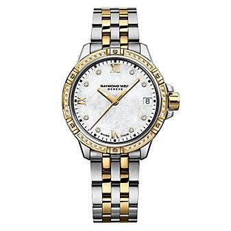raymond weil diamond bezel & dial tango 30mm women's watch, two tone