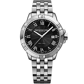 raymond weil tango 41mm men's watch, steel on steel, black dial