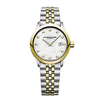 raymond weil freelancer yellow gold pvd plated, stainless steel, 12 diamond womens watch