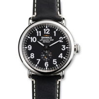 Shinola_Runwell_47mm_Men's_Strap_Watch,_Silver_Tone_Case_with_Black_Dial_and_Strap