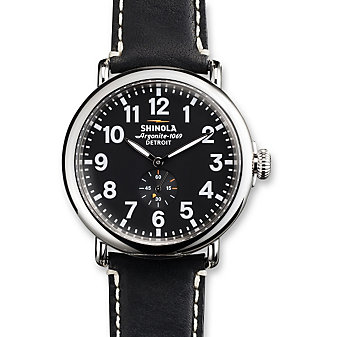 Shinola Runwell 47mm Men's Strap Watch, Silver Tone Case with Black Dial and Strap