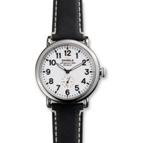 Shinola_Runwell_41mm_Men's_Strap_Watch,_White_Dial_with_Black_Strap