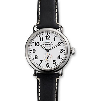 Shinola Runwell 41mm Watch, White Dial with Black Strap