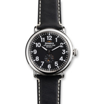 Shinola_Runwell_41mm_Men's_Strap_Watch,_Black_Dial_with_Black_Strap