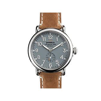 shinola runwell 41mm watch, grey dial with tan strap