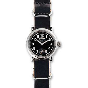 Shinola Runwell 28mm Women's Strap Watch, Black Dial with Black Slip-Through Military Strap