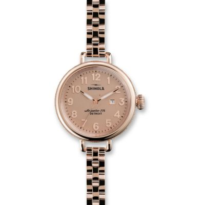 Shinola The Birdy 34mm Women's Bracelet Watch, Rose Tone Case and Bracelet
