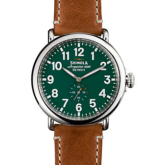 Shinola Runwell 47mm Mens Watch with Green Dial & Maple Strap - Borsheims