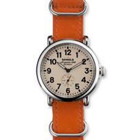 Shinola_Runwell_41mm_Men's_Strap_Watch,_Cream_Dial_with_Orange_Slip-Through_Strap