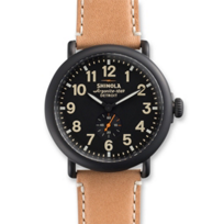 Shinola_Runwell_47mm_Men's_Strap_Watch,_Satin_Black_Case_with_Black_Dial_and_Tan_Strap