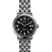 Shinola_Runwell_41mm_Men's_Bracelet_Watch,_Black_Dial_with_Silver_Tone_Case_and_Bracelet