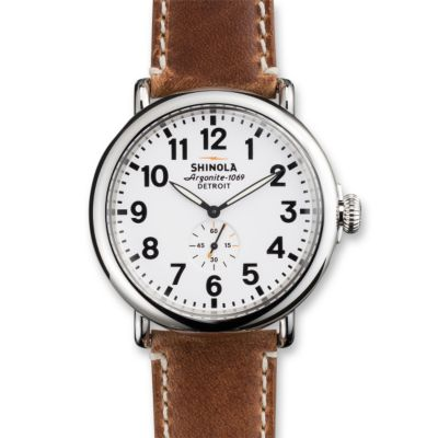 Shinola Runwell 47mm Men's Strap Watch, Silver Tone Case with White Dial and Brown Strap