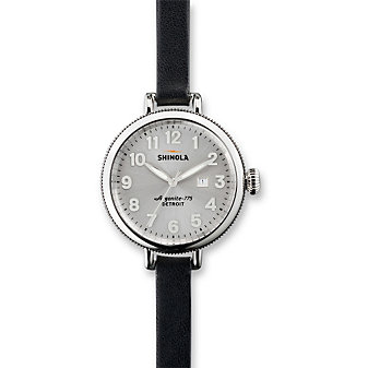 Shinola The Birdy Women's Watch 34mm, Double Wrap Black Strap with Silver Tone Case and Dial