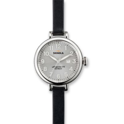 Shinola The Birdy 34mm Women's Double Wrap Strap Watch, Silver Tone Case and Dial with Black Strap