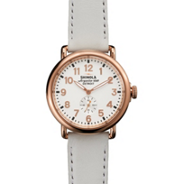 Shinola_Runwell_41mm_Men's_Watch,_Rose_Case_with_White_Strap