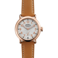 Shinola_Runwell_36mm_Men's_Watch,_Rose_Case_with_Tan_Strap