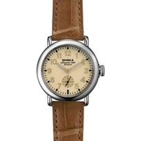 Shinola_Runwell_36mm_Men's_Watch,_Gold_Dial_with_Natural_Strap