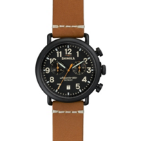 Shinola_Runwell_Chrono_41mm_Men's_Watch,_Black_Case_with_Natural_Strap
