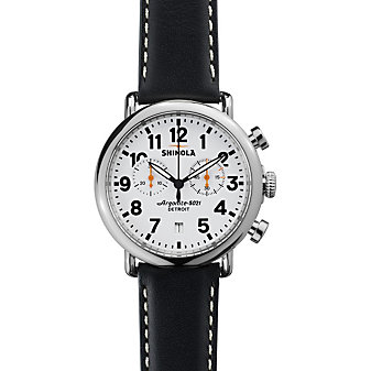 Shinola Runwell Chronograph 41mm Men's Strap Watch, White Dial