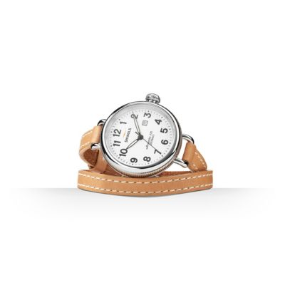 shinola birdy women's watch 34mm, stainless steel with white dial and wrap leather strap