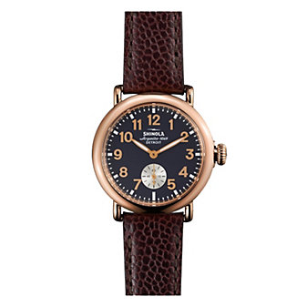 shinola runwell women's 36mm watch, brown leather & rose gold plating