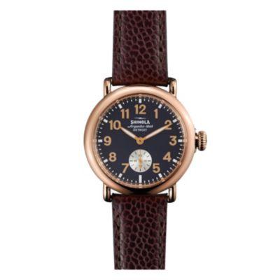 shinola runwell women's 36mm watch, brown leather & rose gold plating