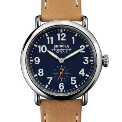 Shinola Stainless Steel Runwell Blue Dial 41mm Watch