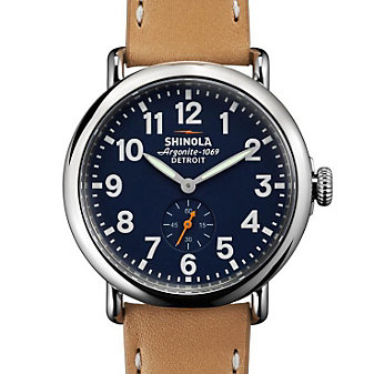shinola runwell 41mm watch, stainless steel with blue dial