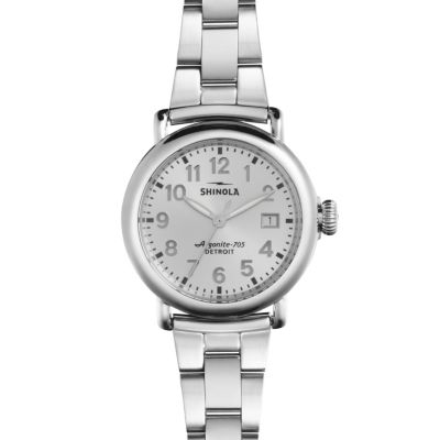 Shinola Runwell Women's Watch 36mm, Stainless Steel Bracelet with Silver Dial