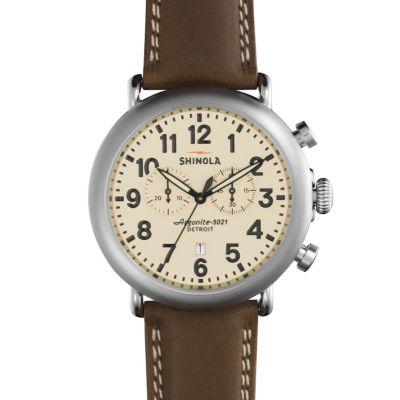 Shinola Runwell Chrono 47mm Dark Nut Aniline Latigo Leather Strap Watch