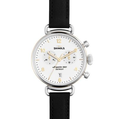 shinola canfield women's watch 38mm, black strap with white dial