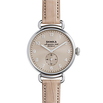 shinola canfield women's watch 38mm, nude pink strap with nude dial