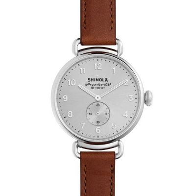 shinola canfield women's watch 38mm, brown strap with silver dial