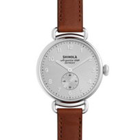 shinola_canfield_women's_watch_38mm,_brown_strap_with_silver_dial